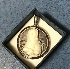 VINTAGE STERLING SILVER MONA LISA RESIN FAUX CAMEO PENDANT HAND MADE 925