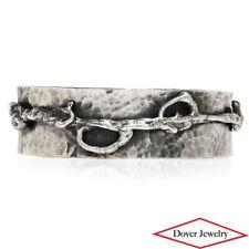 Estate Sterling Silver Wide Hammered Cuff Bracelet 46.9 Grams NR