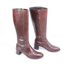 3S Baldinini Damen Stiefel Boots Gr. 37 Leder braun Stretchschaft Reiterlook