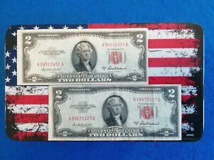 USA Banknote 2 Dollar America 1953 A Red Seal, 2x Stück