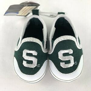 Campus Footnotes Michigan State Green White Infant Baby Shoes Sz 3, 6-9 Months