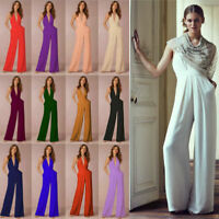 Fashion Woman Solid Sleeveless Jumpsuits Halter Backless Sexy Party Trousers