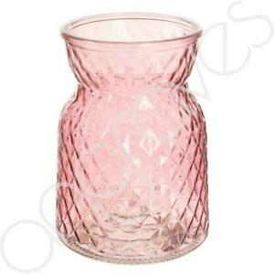 Textured Pink Glass Flower Bud Vase Jar Home Decoration Decor Ornament