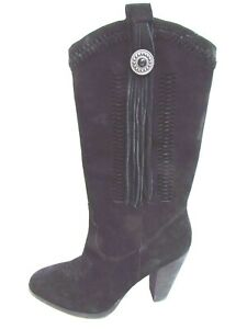 Reba Size 9.5 Black Suede Leather Boots New Womens Shoes