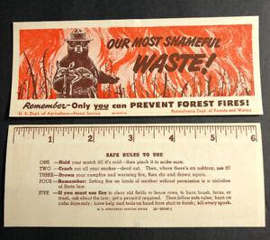 Smokey The Bear Bookmark Ruler 1950 Minty Unused Mini Sign National Park Icon