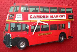 LONDON WALL CLOCK DOUBLE DECKER BUS CAMDEN MARKET HAND MADE WOODEN CLOCK