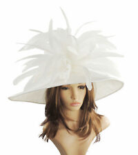 White Large Ascot Hat for Weddings, Ascot, Melbourne Cup HW2