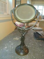 Art Deco Bronze Lady Balancing Mirror On Head Vanity Dresser Statue Antique