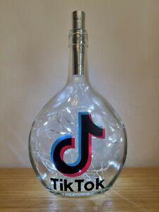 Tik Tok Themed Glass Bottle / Night Light / Lamp / Gift