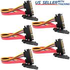 """(5-pack) 15+7 Pin SATA HDD Extension Cable Data+Power Male to Female, 11"""" / 28cm"""