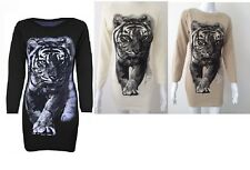 LADIES FULL TIGER LION PULLOVER SWEATER PRINT KNITTED CARDIGAN JUMPER DRESS 8-14