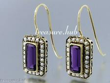 CE211 SUPERB Genuine 9ct Solid Yellow Gold Natural AMETHYST & Pearl Earrings