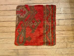 Beautiful moroccan pillow cover hand made in Turkey. Vibrant red color wool.