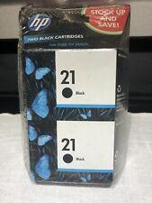 (Expired) (2) Genuine Sealed Hp 21 Black Ink Cartridges W/Free Shipping!!!