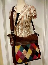 Fossil Vintage Maddox Patchwork Large Handbag Purse brown suede