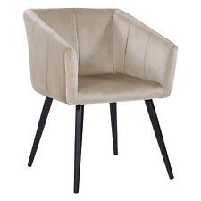 B-WARE Esszimmerstuhl Küchenstuhl Samt Beige Sessel RETRO Design Metallbeine