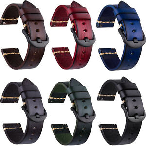 18/20/22/24/26mm Vintage Genuine Leather Watch Wrist Band Strap Quick Release