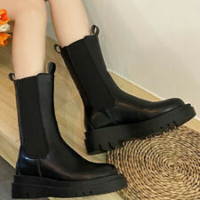 Womens Chunky Chelsea Boots Elasticated Mid Calf Ankle Comfy Winter Shoes Size