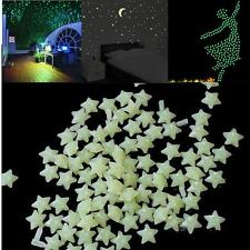 200x 3D Stars Glow In The Dark Luminous Fluorescent Wall Sticker Kids Bedroom AD