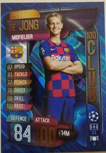 2019/20 Match Attax UEFA Soccer Card - Frenkie De Jong 100 Club #326 Barcelona