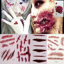 5x Halloween Scar Blood Temporary Tattoos Face & Body Makeup Fake Tattoo Sticker