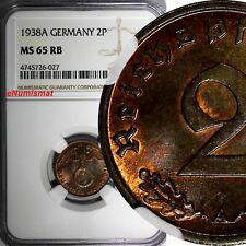 Germany-Third Reich Bronze 1938 A 2 Reichspfennig NGC MS65 RB TOP GRADED KM# 90
