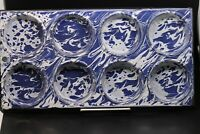 "Vintage ""Rare"" Cobalt Blue & White Swirl Graniteware 8 hole Muffin Pan"