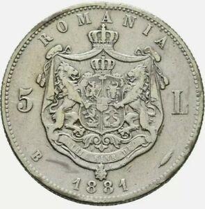1881 B 5 LEI Silver CAROL I REGE . Romania . Cleaned