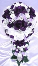 21 piece Wedding bouquets Bridal bouquet package Silk flower PURPLE PLUM SILVER