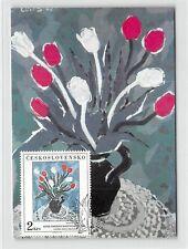 CSSR MK 1987 MALEREI BLUMEN TULPEN TULPE CARTE MAXIMUM CARD MC CM d9931