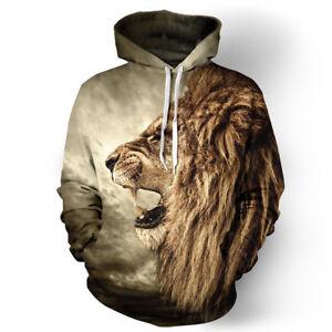 Men Women's Hoodie 3D Wolf Lion Sweatshirt Jacket Coat Pullover Jumper Sweater