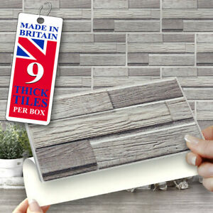 "Stick On Wall Tiles | 9 Grey Shanty Self Adhesive Wall Tiles 8"" x 4"" Brick Shape"