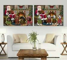 Christmas Cozy Fire Holiday Tails Dog Cat Pet Photo Canvas Wall Art Decor