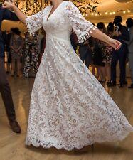 Bohemian wedding dress ivory cotton lace custom-made size 38-40 (10-12)