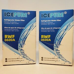 Ice Pure RWF0600A Water Filter for GE, Kenmore Refrigerator MWF Lot of 2