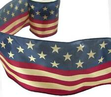 """5 Yds American Flag Tea Antique Vintage Look Wired Wide Ribbon 5 1/2""""W"""