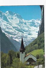 Lauterbrunnen Church and Grosshorn Switzerland Postcard used VGC