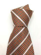 True Vintage Kipper Necktie Neck Tie White Spots and Stripes Light Brown Kitsch
