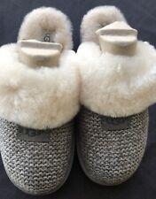 BNIB New UGG Shoes GRAY Cozy Knit Slipper Size 11 WHITE Sheepskin Trim NEW