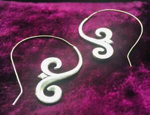SILVER PLATED ART DECO LARGE SPIRAL EARRINGS - BOHO, LADIES GIFT IDEAS