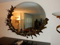 1980' Miroir Eclairant Décor Bambou DLG Duval Brasseur Par Barbier Maison Jansen
