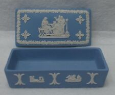 "WEDGWOOD china Cream on Lavender/Blue JASPERWARE Rectangular Trinket Box  3-3/4"""