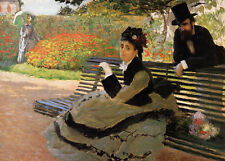 Oil painting Claude Monet - Camille Monet on a Garden Bench in spring landscape