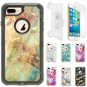 Marble Clear Defender Case For iPhone 6 Plus/6S Plus W/Screen Clip Fits Otterbox