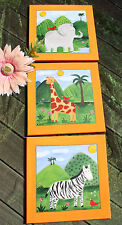 3x UNIKAT Kinder BILDER Deko Zoo Elefant Giraffe Zebra orange bunt 40x40 - TOP!