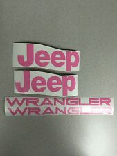 Set of Jeep Wrangler Replacement Vinyl Stickers Decals YJ TJ  PINK Set