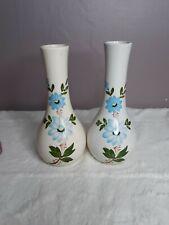 """2- Vtg 1979 Ftd CeramicBud Vase 8.25"""" Hand Painted Blue Floral Flower Botanical"""