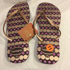 6a90f8b33b824 New Havaianas Slim Women s 11 12 Flip Flops Rubber Sandals Shoes Gold  Purple Dot