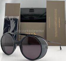 DITA NACHT ONE Round Sunglasses DTS108-56-02 Black Iron Gray Lens 56mm Large