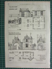 1877 DATED ARCHITECTURAL PRINT LODGE & COVERED CARRIAGE ENTRANCE PLAN ELEVATION